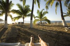 Feet Up at the Beach Royalty Free Stock Photo