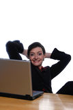 Feet Up On Desk, Easy Does It - Looking At Camera Royalty Free Stock Photo