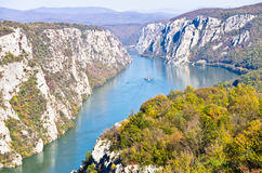 2000 feet of vertical cliffs over Danube river at Djerdap gorge and national park Royalty Free Stock Photos