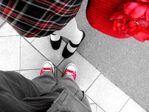 Feet on the walk. Mannheim, Deutschland (Germany), August 2014 stock images