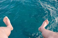 Feet and water. The deep blue sea and legs over him Royalty Free Stock Photography