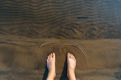 Feet in the water . Royalty Free Stock Photography