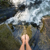 Feet in waterfall Royalty Free Stock Image