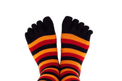 Feet wearing colored socks Royalty Free Stock Photography