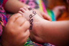 Feet wearing Henna Royalty Free Stock Photography