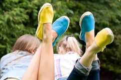 Feet wearing shoes bright color Stock Photo