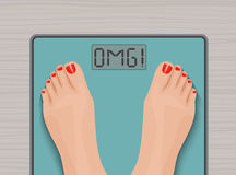 Feet on weighing scales. top view. Health concept. Stock Photography