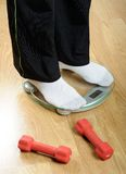 Feet on weight scale Royalty Free Stock Images