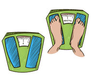 Feet on weight scales. healthy weight. vector illu Stock Photo