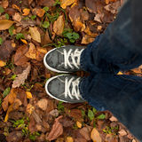Feet in wet sneakers Stock Photo