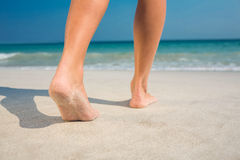 Feet of woman at the beach Royalty Free Stock Photo