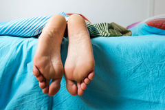 Feet Woman Sleeping Stock Photo