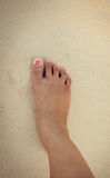 Feet of women in the sea sand Stock Photography