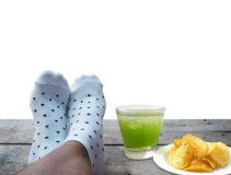 Feet on wooden floor over white background Royalty Free Stock Photo