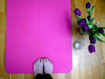 Spring inspired yoga training royalty free stock photo