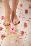 Feet of a young female on a wooden floor Stock Image