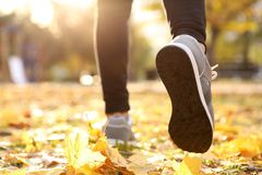Feet of young man running in autumn park. Closeup Stock Photography