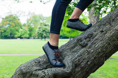 Feet of a young woman climbing tree Stock Photo
