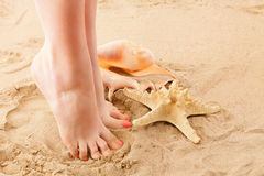 Feets and beach sand Royalty Free Stock Images