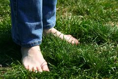 Feets en la hierba foto de archivo libre de regalías