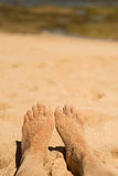 Feets in sand Royalty Free Stock Photography