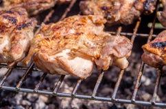 Feg biff på gallret Laga mat höna på grillfesten med kol i trädgård arkivbild