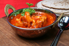 Feg curry med Chapattis Royaltyfria Bilder