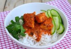 Feg curry med rice Arkivbilder