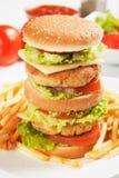 feg double för hamburgare arkivbild