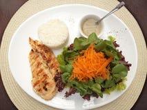 Feg filé med Sao Paulo Brazil för detalj för mat för sallad- och risreceptplatta arkivbild