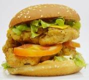 Feg hamburgare - stor saftig hamburgare på vit bakgrund - brännboll Arkivbild