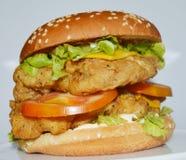 Feg hamburgare - stor saftig hamburgare på vit bakgrund - brännboll Arkivbilder