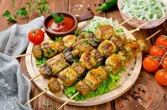 Feg kebab med champinjoner fotografering för bildbyråer