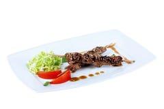 Feg kebab med kål och tomater på en fyrkantig platta Royaltyfria Bilder