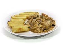 Feg Korma curry och tjocka chiper Royaltyfri Fotografi