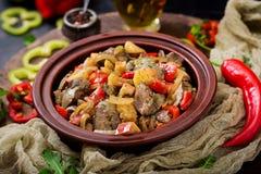 Feg lever för stek med grönsaker Arkivfoto