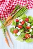 feg leversallad körsbärsröda tomater och fetaost Arkivbild