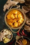 Feg masalacurry, kryddigt kött Gul feg currysås Kryddig feg currymaträtt Traditionell indisk mat, asiatisk kokkonst royaltyfria bilder