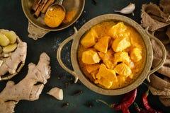 Feg masalacurry, kryddigt kött Gul feg currysås Kryddig feg currymaträtt Traditionell indisk mat, asiatisk kokkonst royaltyfria foton