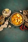 Feg masalacurry, kryddigt kött Gul feg currysås Kryddig feg currymaträtt Traditionell indisk mat, asiatisk kokkonst fotografering för bildbyråer