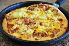 feg meatpizza för ost fotografering för bildbyråer