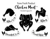 feg ny meat Ny produkt för lantgård Höna ben, lår, vinge stock illustrationer