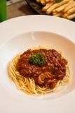Feg såsspagetti Fotografering för Bildbyråer