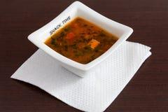 Feg soup med grönsaker fotografering för bildbyråer