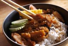 Feg teriyaki med rice royaltyfri fotografi