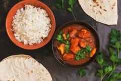 Feg tikkamasala med ris Asiat-indier maträtt Bästa sikt, lekmanna- lägenhet royaltyfri bild