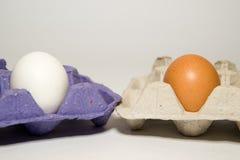 Fega ägg av olika färger i den till salu packen Royaltyfri Bild