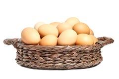 Fega ägg för beiga i en brun vide- korg fotografering för bildbyråer