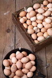 Fega ägg i en träask och en rundabehållare Royaltyfri Bild
