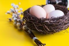 Fega ägg i ett rede med en pil fattar och en ringklocka på en gul bakgrund arkivbilder